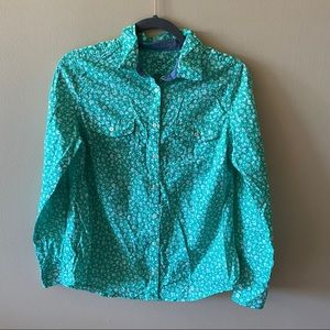 Womens Floral Green Button Up Blouse
